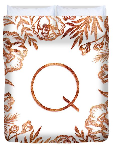 Letter Q - Rose Gold Glitter Flowers Duvet Cover