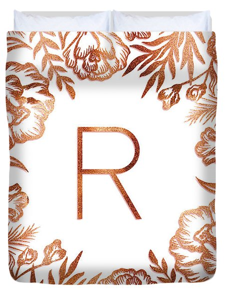 Letter R - Rose Gold Glitter Flowers Duvet Cover