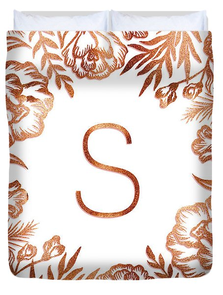 Letter S - Rose Gold Glitter Flowers Duvet Cover