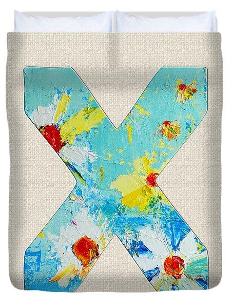 Letter X Roman Alphabet - A Floral Expression, Typography Art Duvet Cover