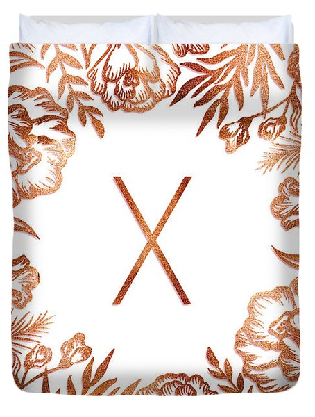 Letter X - Rose Gold Glitter Flowers Duvet Cover