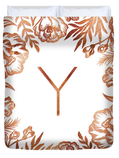 Letter Y - Rose Gold Glitter Flowers Duvet Cover