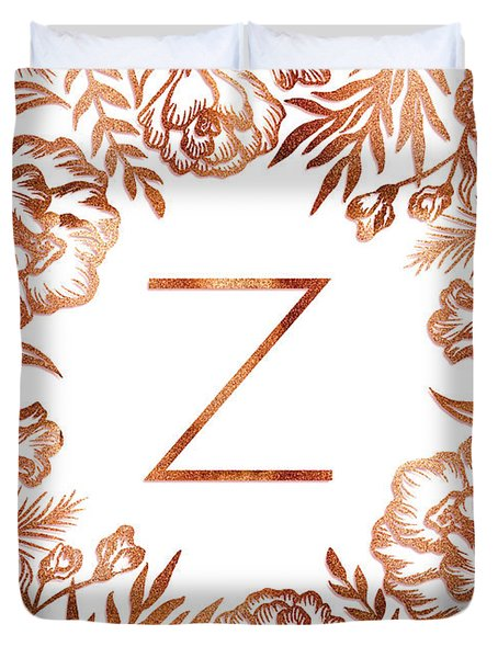 Letter Z - Faux Rose Gold Glitter Flowers Duvet Cover