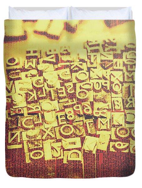 Letterpress Industrial Pop Art Duvet Cover
