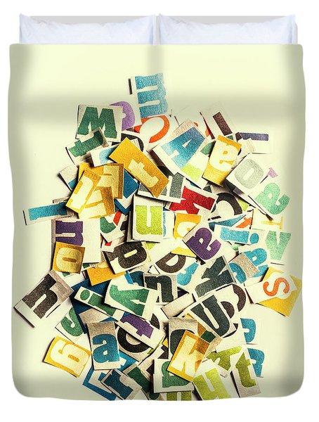 Letters In Jumble Duvet Cover
