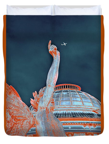 Duvet Cover featuring the photograph Letting Fly by Menega Sabidussi