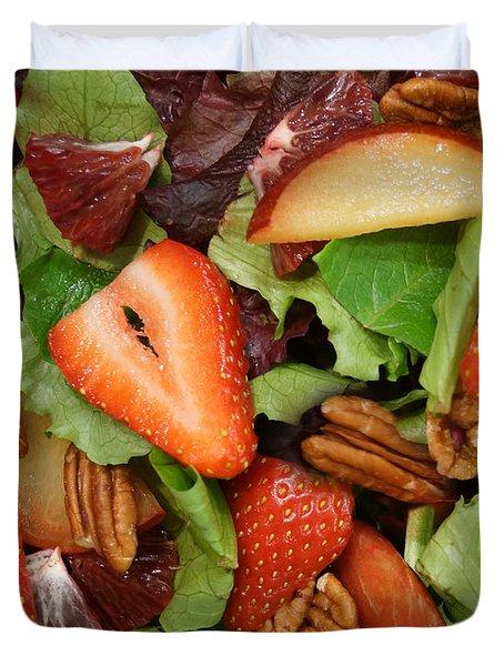 Lettuce Strawberry Plum Salad Duvet Cover