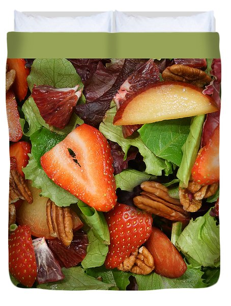 Duvet Cover featuring the digital art Lettuce Strawberry Plum Salad by Jana Russon