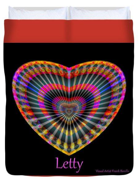 Duvet Cover featuring the digital art Letty by Visual Artist Frank Bonilla