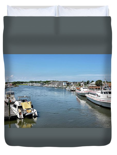 Duvet Cover featuring the photograph Lewes Delaware by Brendan Reals