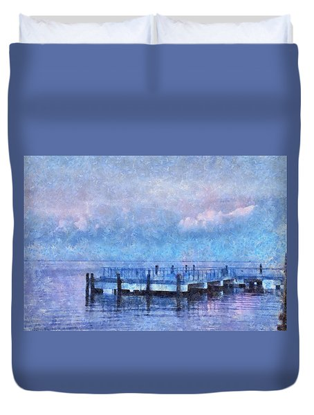 Duvet Cover featuring the mixed media Lewes Pier by Trish Tritz