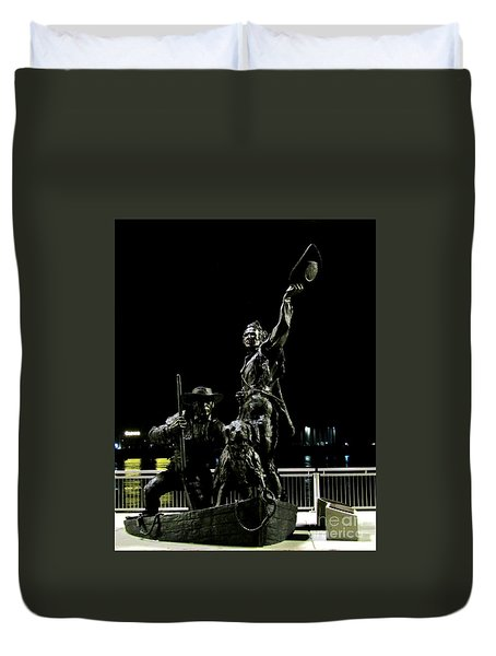 Lewis And Clark Arrive At Laclede's Landing Duvet Cover