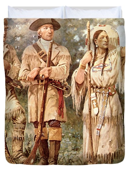 Lewis And Clark With Sacagawea Duvet Cover