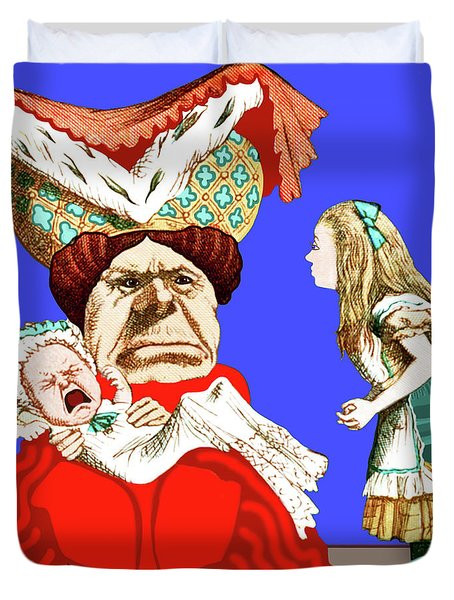 Duvet Cover featuring the painting Lewis Carrolls Alice, Red Queen And Crying Infant by Marian Cates