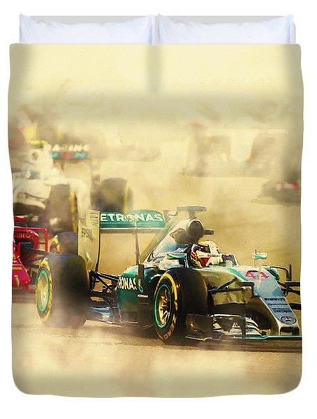 Lewis Hamilton Leads Again Duvet Cover