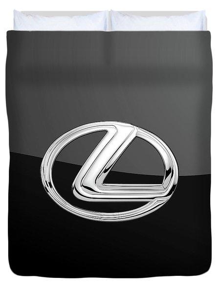 Lexus - 3d Badge On Black Duvet Cover by Serge Averbukh