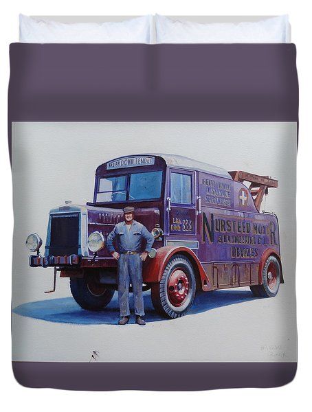 Duvet Cover featuring the painting Leyland Wrecker 1930. by Mike  Jeffries
