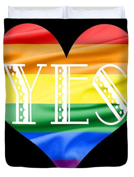 Lgbt Heart With A Big Fat Yes Duvet Cover