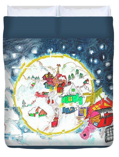 L'hiver Au Cube / Winter Cubed Duvet Cover