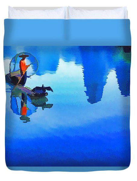 Duvet Cover featuring the photograph Li River Reflections by Dennis Cox WorldViews