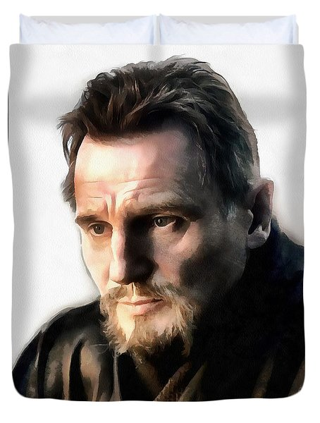 Liam Neeson Duvet Cover by Sergey Lukashin