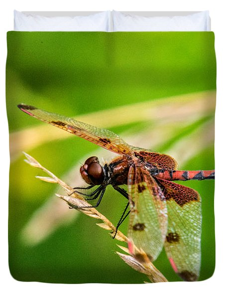 Libelluid Resting On Grass Duvet Cover