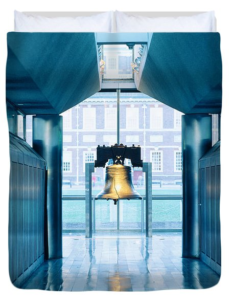 Liberty Bell Hanging In A Corridor Duvet Cover