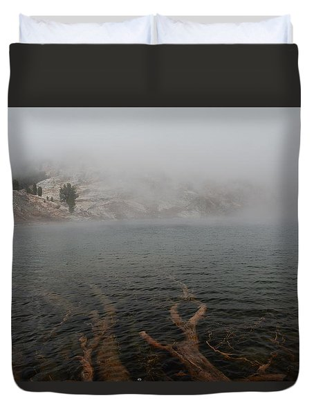 Liberty Lake In Fog Duvet Cover
