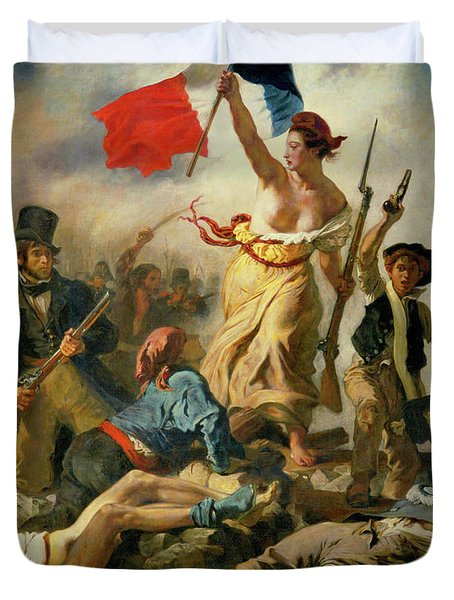 Duvet Cover featuring the painting Liberty Leading The People By Eugene Delacroix 1830 by Movie Poster Prints