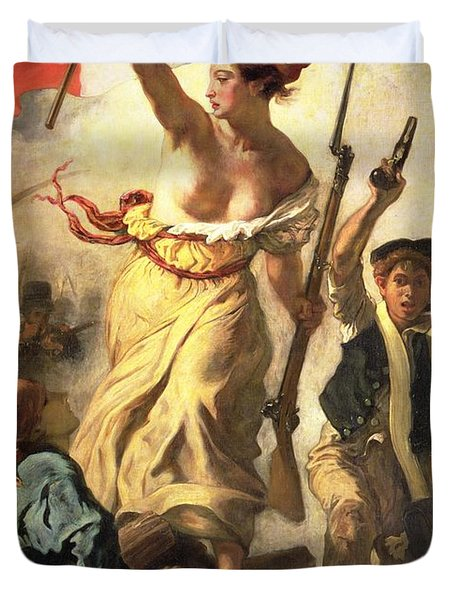 Liberty Leading The People Duvet Cover by Ferdinand Victor Eugene Delacroix