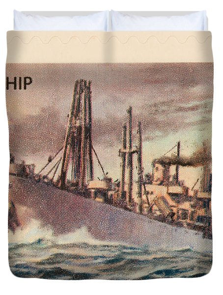 Liberty Ship Stamp Duvet Cover by Heidi Smith