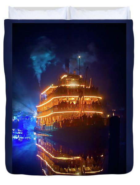 Duvet Cover featuring the photograph Liberty Square Riverboat by Mark Andrew Thomas