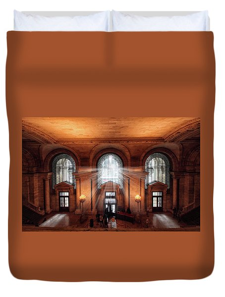 Duvet Cover featuring the photograph Library Entrance by Jessica Jenney