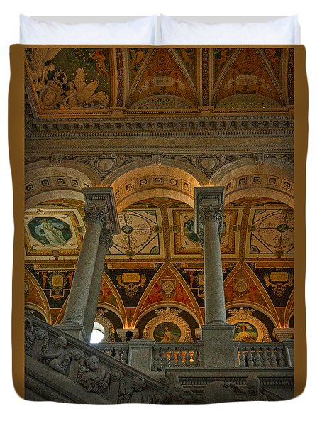 Library Of Congress Staircase Duvet Cover