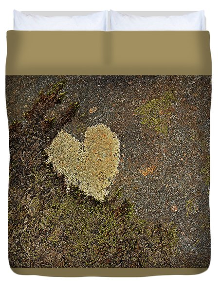 Duvet Cover featuring the photograph Lichen Love by Mike Eingle