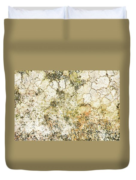 Duvet Cover featuring the photograph Lichen On A Stone, Background by Torbjorn Swenelius
