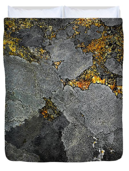 Lichen On Granite Rock Abstract Duvet Cover
