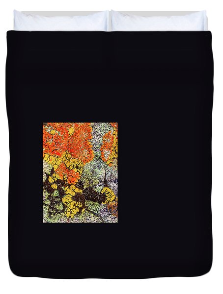 Duvet Cover featuring the photograph Lichen Palette by Jean Noren