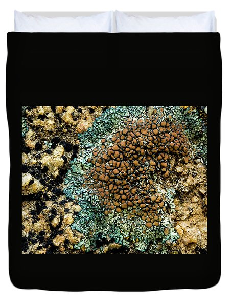 Duvet Cover featuring the photograph Lichen Pattern by Jean Noren