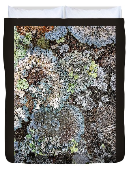 Duvet Cover featuring the digital art Lichens by Julian Perry