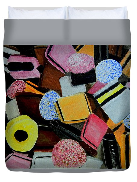 Duvet Cover featuring the painting Licorice All Sorts by Betty-Anne McDonald