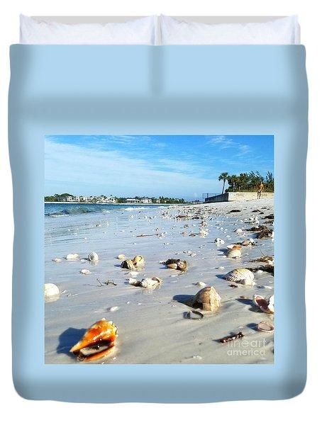 Duvet Cover featuring the photograph Lido Beach Sea Shells 1 by Lou Ann Bagnall