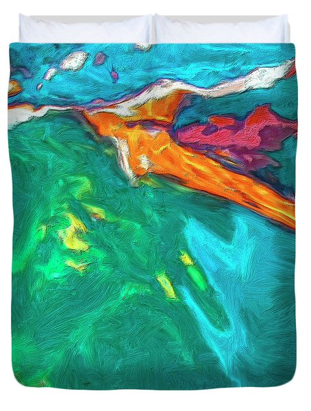 Duvet Cover featuring the painting Lies Beneath by Dominic Piperata