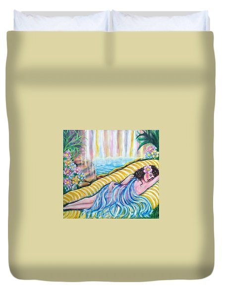 Duvet Cover featuring the painting Life Doesn't Get Any Better by Anya Heller