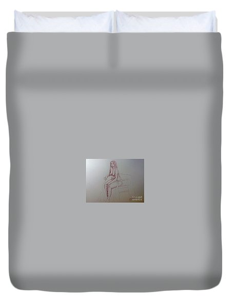 Life Drawing Nude Lady Duvet Cover