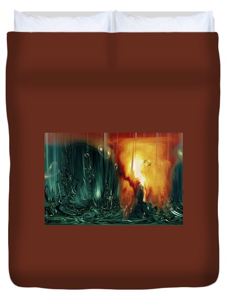 Duvet Cover featuring the digital art Life Form Ends by Linda Sannuti