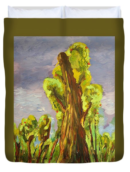 Duvet Cover featuring the painting Life by Geeta Biswas