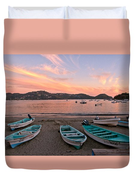 Duvet Cover featuring the photograph Life In A Fishing Village by Jim Walls PhotoArtist