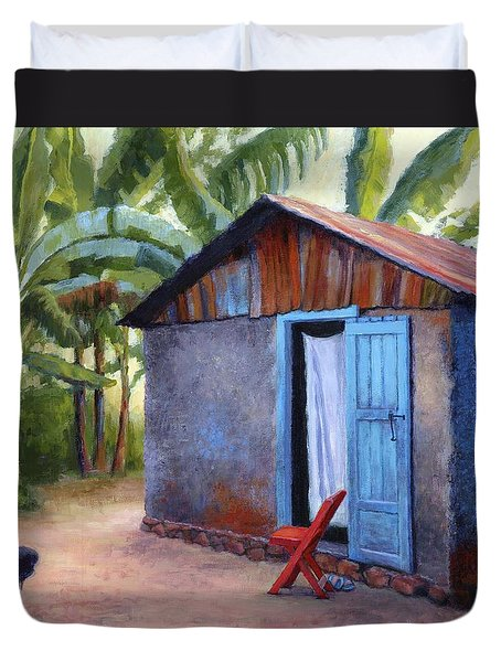 Duvet Cover featuring the painting Life In Haiti by Janet King