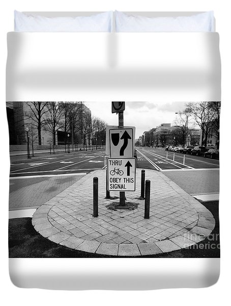 Duvet Cover featuring the photograph Life In The Bike Lane by John S